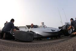 Pacific Coast Motorsports team members practice pit stops