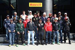 The Drivers pose for a Pirelli photo
