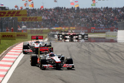 Jenson Button, McLaren Mercedes leads Lewis Hamilton, McLaren Mercedes, MP4-26