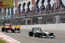 Nico Rosberg, Mercedes GP F1 Team, MGP W02 leads Felipe Massa, Scuderia Ferrari, F150