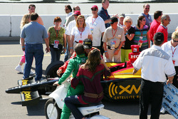 Pole winner Bryan Herta celebrates with Tony Kanaan