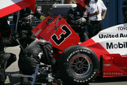 Wrecked car of Helio Castroneves