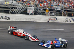 Scott Dixon spins and crashes in the wall