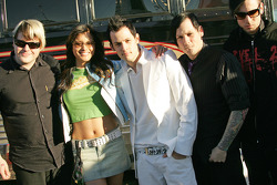 Actress Kelly Hu with the band 'Good Charlotte'