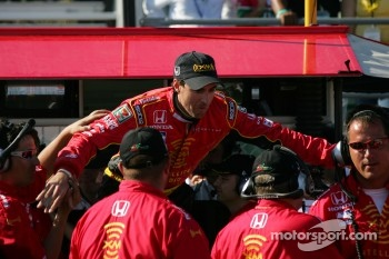 Pole winner Bryan Herta celebrates