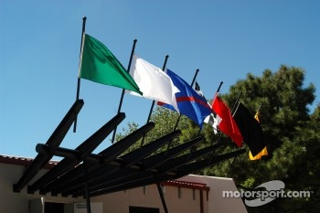 Racing flags above entrance