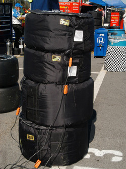 Tire warmers on the stacked tires