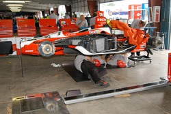 Crew works on Dan Wheldon car
