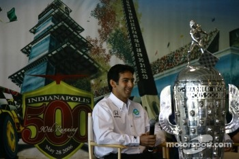 New Rahal Letterman Racing driver Jeff Simmons and the famed Borg-Warner Trophy