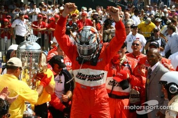 Race winner Sam Hornish Jr.celebrates