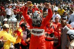 Race winner Sam Hornish Jr.celebrates
