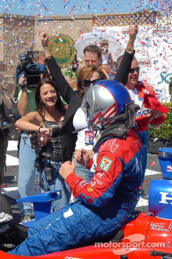 Victory lane: Marissa and Sandy Andretti cheer Marco's first win