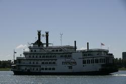 The Detroit Princess cruises on the Detroit River