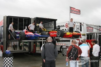 Panther Racing cars unloaded from transporter