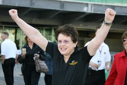 Honorary Starter Billie Jean King reacts after waiving the green flag to start the opening practice period on Pole Day