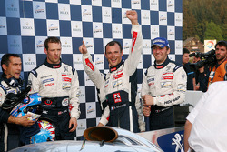 Race winner Alexander Wurz, second place Franck Montagny and Stéphane Sarrazin