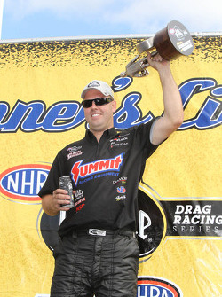 Jason Line celebrates his Pro Stock win