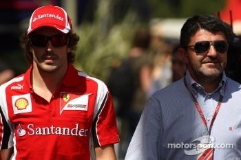 Fernando Alonso, Scuderia Ferrari with Luis Garcia Abad, Manager of Fernando Alonso