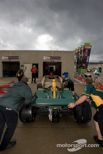 Car of Tony Kanaan, KV Racing Technology-Lotus enters technical inspection