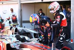 Jenson Button, McLaren Mercedes pulls Mark Webber, Red Bull Racing away from the car