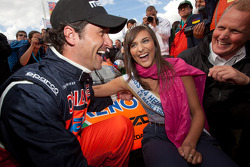 Patrick Dempsey and Johnny Herbert with Miss 24 Hours of Le Mans 2011
