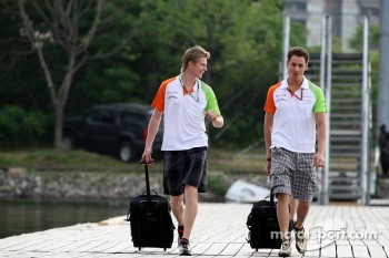 Nico Hulkenberg, Force India F1 Team and Adrian Sutil, Force India F1 Team