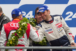 LM P1 podium: Marcel Fässler and Franck Montagny
