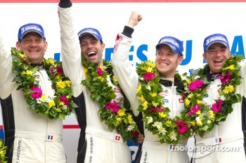 LM GTE Am podium: class winners Patrick Bornhauser, Julien Canal, Gabriele Gardel and Jack Leconte