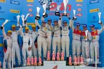 Podium: race winners Marc Lieb, Lucas Luhr, Romain Dumas, Timo Bernhard, second place Jorg Muller, Augusto Farfus Jr., Uwe Alzen, Pedro Lamy, third place Marc Basseng, Marcel Fässler, Frank Stippler