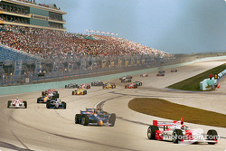The start: Helio Castroneves leading the rest of the field