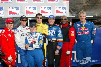 Group photo: Richie Hearn, Alex Barron, Sarah Fisher, Sam Hornish Jr., Mark Dismore, George Mack and Eddie Cheever