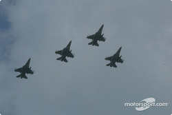 Jets flyover by F-16 Arkansas Air National Guard