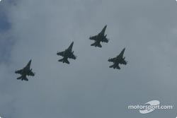 Jets flyover by F-16 Arkansas Air National Guard