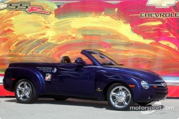 Chevy SSR against Peter Max artwork