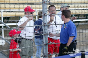 Team Menard crew member Trevor Mitchener talks with fans