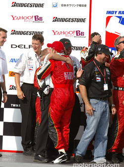 Dan Wheldon celebrates