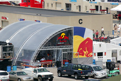 Red Bull Cheever Racing hospitality area in Gasoline Alley at the Indianapolis Motor Speedway