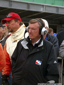 Three time Indy 500 winner Johnny Rutherford watches the qualifying line