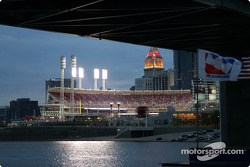 A view of the Great American Ball Park and Cincinnati