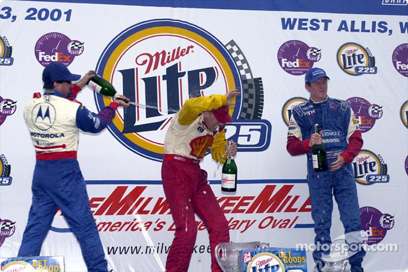 The podium: Michael Andretti, Kenny Brack and Scott Dixon