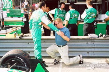 Stretching session for Dario Franchitti