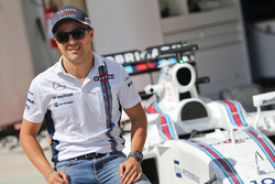 Felipe Massa, with a specially liveried Williams FW38 marking his retirement from F1