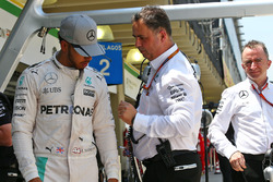 (L to R): Lewis Hamilton, Mercedes AMG F1 with Ron Meadows, Mercedes GP Team Manager and Paddy Lowe, Mercedes AMG F1 Executive Director (Technical)