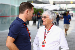 F1 supremo Bernie Ecclestone talks with Christian Horner, Red Bull Racing Team Principal