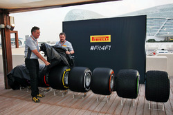 Mario Isola, Pirelli Racing Manager and Paul Hembery, Pirelli Motorsport Director reveal the 2017 Pirelli F1 tyres