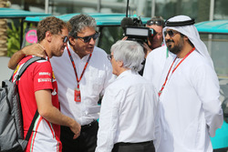 Sebastian Vettel, Ferrari with Pasquale Lattuneddu, FOM and Bernie Ecclestone
