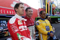 Sebastian Vettel, Tom Kristensen and Juan Pablo Montoya