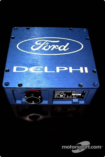 Presentation of the The Blue Box impact sensor is installed in every Champ Car