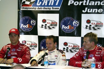 Press conference: pole winner Cristiano da Matta with Bruno Junqueira and Kenny Brack