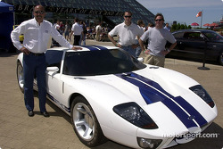 Visit to the Rock and Roll Hall of Fame: Bobby Rahal, Michel Jourdain Jr. and Jimmy Vasser posing with a Ford GT40